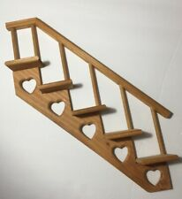 Wood Stair Steps Case Landing Hanging Knick Knack Shelf Heart Cut Out Wooden