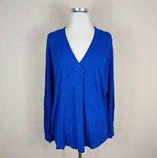 LUSH Nordstrom Blue V-Neck Long Sleeve Cotton Top Shirt S Small