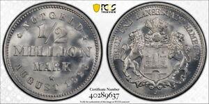 Germany/Hamburg 1/2 MillionMark Notgeld, Lamb 181A.2, PCGS MS66, Aluminum