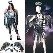 7 PC Dark FALLEN ANGEL COSTUME Set Gothic Lace WINGS Halo Dress GLOVES Fishnets