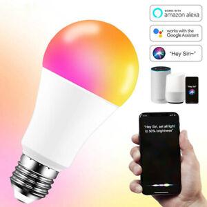 Wifi Smart LED Light Bulb E27 B22 Multi-Color Dimmable RGB For Alexa/Google Home