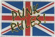 UNION JACK punk rules ! grafitti 2013 - oblong WOVEN SEW ON PATCH
