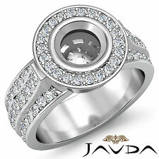Diamond Engagement Huge Ring Round Semi Mount 14karat Gold Halo Pave Set 1.65Ct