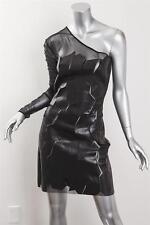 JEAN CLAUDE JITROIS Womens Black Leather Stretch Off-Shoulder Short Dress 38/S/M