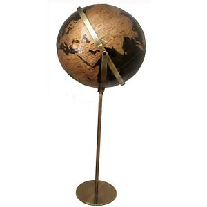 World Globe Black & Gold Raised Relief Embossed Educational Floor Standing Gift