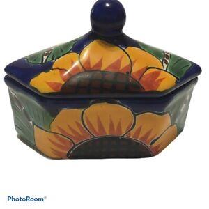 Artisan porcelain ceramic Sunflower trinket jewelry box blue gold 6 sided
