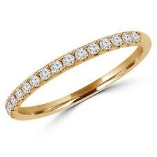 0.2 Ct Vs1 F Round Diamond Semi-Eternity Wedding Band Ring 14K Yellow Gold