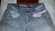 Guess Daredevil Skinny Leg Women's Premium Jeans Size 29 Grey Acid Washed