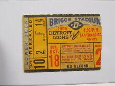 Oct 18, 1959 Detroit Lions vs San Francisco 49ers Ticket Stub