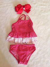 Baby Girl's Circo 2-Piece Red White Polka Dot Tankini Swimsuit ~ Size 12M Euc