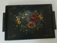 Antique hand tole painted handled wood wooden serving tray floral design