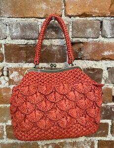 Patricia Nash Burnt Coral Woven Scalloped Raffia Laureana Frame Bag & Chain New
