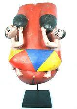 Art Africain Arts Premiers - Masque Ventral Gelede Jumeaux sur Socle - Nigéria
