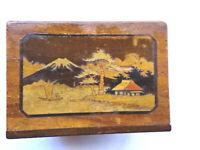 Wonderful Japanese Small  Wooden Box with Stunning Mt.Fuji inlay