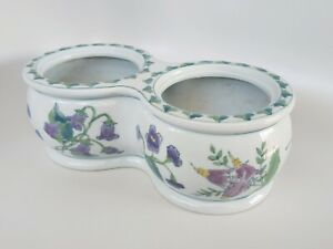 Chinese Porcelain Double Planter Chinoiserie hand painted flowers vines 10 inch