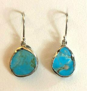 "Sterling Silver Earrings Turquoise Freeform Southwest JTV 1.25"" 3.6g 925 #1992"