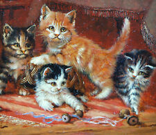 Szilagyi Jolán 1895-1971 Ungarn Katzen mit Nähkorb Kätzchen Kitten cats playing