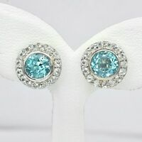 6mm Natural Sky Blue Topaz Earring With White Topaz in 925 Sterling Silver