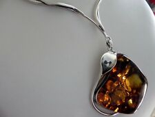✨49g! sterling silver 925 Calla Lily ✨ Art Nouveau amber nugget ✨choker necklace