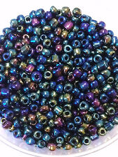 50g glass seed beads - Blue & Multicolour Iris - approx 4mm (size 6/0)