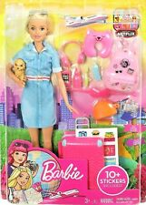 New Mattel Barbie Doll and Travel Set with Puppy, Luggage and 10 + Accessories!