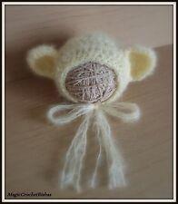 Newborn Baby Boy Girl Handmade Crochet   mohairbear  Bonnet Hat Photo Prop
