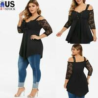 Womens Sexy Lace Cold Shoulder T Shirt Ladies Casual Irregular Blouse Tunic Tops