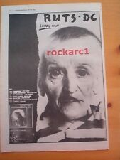 RUTS DC 'Animal Now' 1981 UK Poster size Press ADVERT 16x12 inches