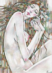 original drawing A3 130RM art samovar modern female nude Colored Pencil