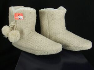 """Comfy by Daniel Green """"Ariah"""" Cream Fleece Lined Bootie Slippers Size 9-10 New"""