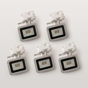 5  LED Stromschienenstrahler 10W weiss  Adapter f. Staff Erco Eutrac Uni Schiene