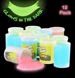 Glow in The Dark Slime - 12 Pack Assorted Neon Colors - Green, Blue, Oran