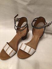 Coach Pexton Women's Chalk/Natural Leather Open Toe Sandal Size 8 M