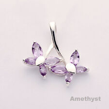 """Butterfly  Amethyst pendant Sterling Silver insects """"New Beginnings"""" necklace"""