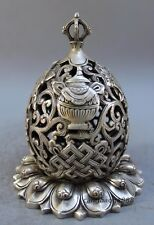China Antiques copper hand Carved Eight Auspicious Symbols Lotus Incense Burner