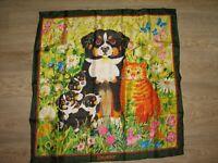 BEYELER Cat Dogs FLORAL scarf 100% silk, 85x85cm