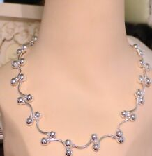 """SILVER SOLID BALL BEADS NECKLACE 18"""" LONG X  8mm ROUND SILVER BEADS"""
