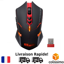 Souris PRO Gamer Sans Fil USB 2400 DPI 7 Boutons Gaming PC Ordi Windows Mac FR