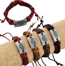 Lots 12pcs Handmade Genuine Leather LOVE Heart Alloy pendant Bracelet for Gifts
