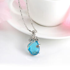 Hot Sale Charming Women Solitaire Amethyst Silver Crystal Pendant With Necklace