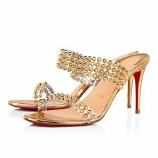 Christian Louboutin Spikes Only 85 Gold PVC Slide Mule Sandal Heel Pump 37.5