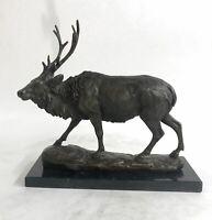Signed Milo Male Deer Stag Buck Wildlife Bronze Sculpture Statue Figurine Art