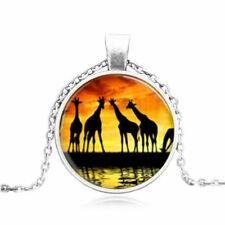 "GIRAFFE SUNSET charm gem pendant 20"" Sterling Silver 925 necklace chain female"
