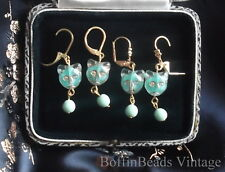 Wobbly CAT EARRINGS Givres glass deco mint green turquoise GIFTS for cat-lovers