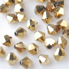 50pcs 6mm Bicone Faceted Crystal Glass Loose Spacer Beads Findings Gold Plated