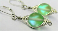 Wire Wrapped Round Rainbow AB Green Glass Silver LEVERBACK Earrings USA HANDMADE