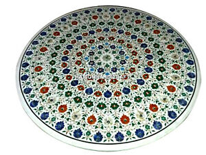 Multi Marquetry Stone Marble Dining Table Inlaid Mosaic Living Home Decor H3389