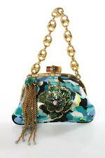 Gucci Blue Black Silk Floral Print Jeweled Bloom Catena Chain Evening Handbag