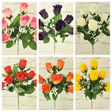 ARTIFICIAL SILK FLOWERS ROSE BUD BUNCH 6 COLOURS Home Wedding Outdoor Grave