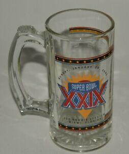 Vintage 1995 NFL Super Bowl XXIX San Francisco 49ers Beer Mug Glass Rare MINT